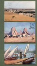 3 Old postally used postcards EGYPT nice stamps #067